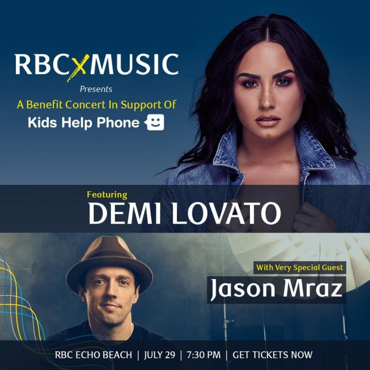 Jason Mraz will join Demi Lovato for a Benefit Concert in Support of Kids Help Phone