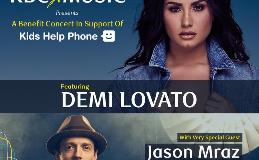Jason Mraz will join Demi Lovato for a Benefit Concert in Support of Kids HelpPhone